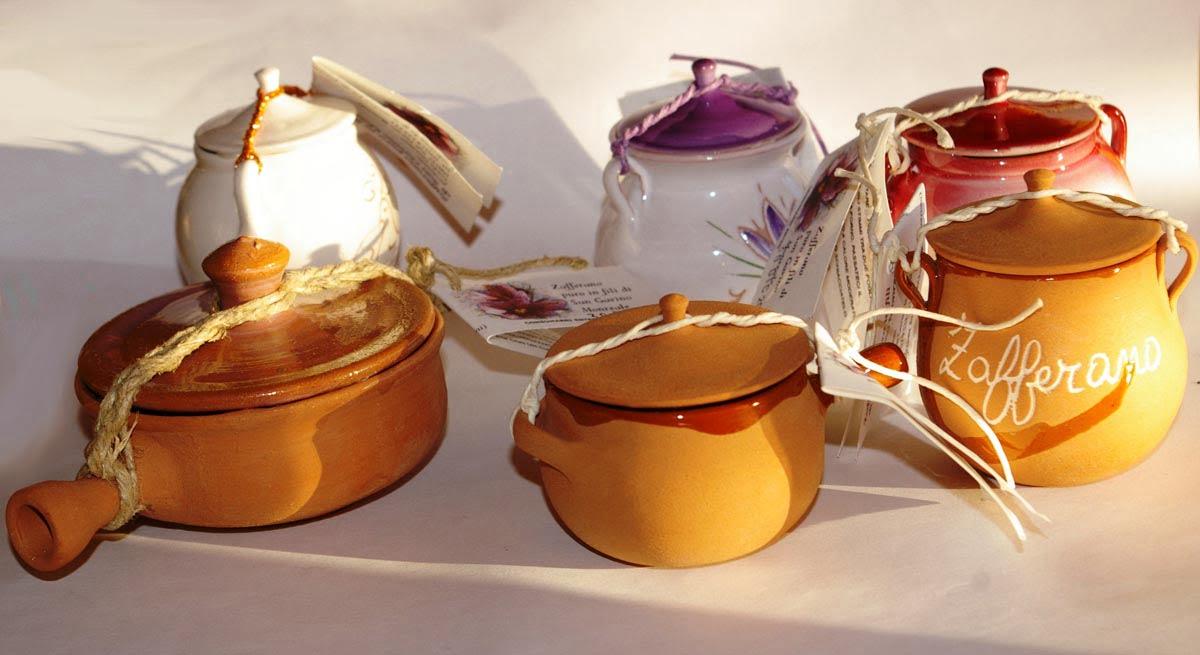 Vasetti zafferano terracotta e ceramica