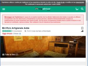 Birrificio Adda, Recensioni TripAdvisor