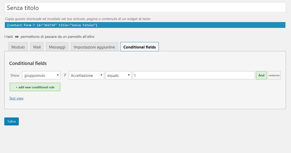 Contact Form 7 Conditional Fields – Come nascondere pulsante invio se le condizioni non vengono accettate.